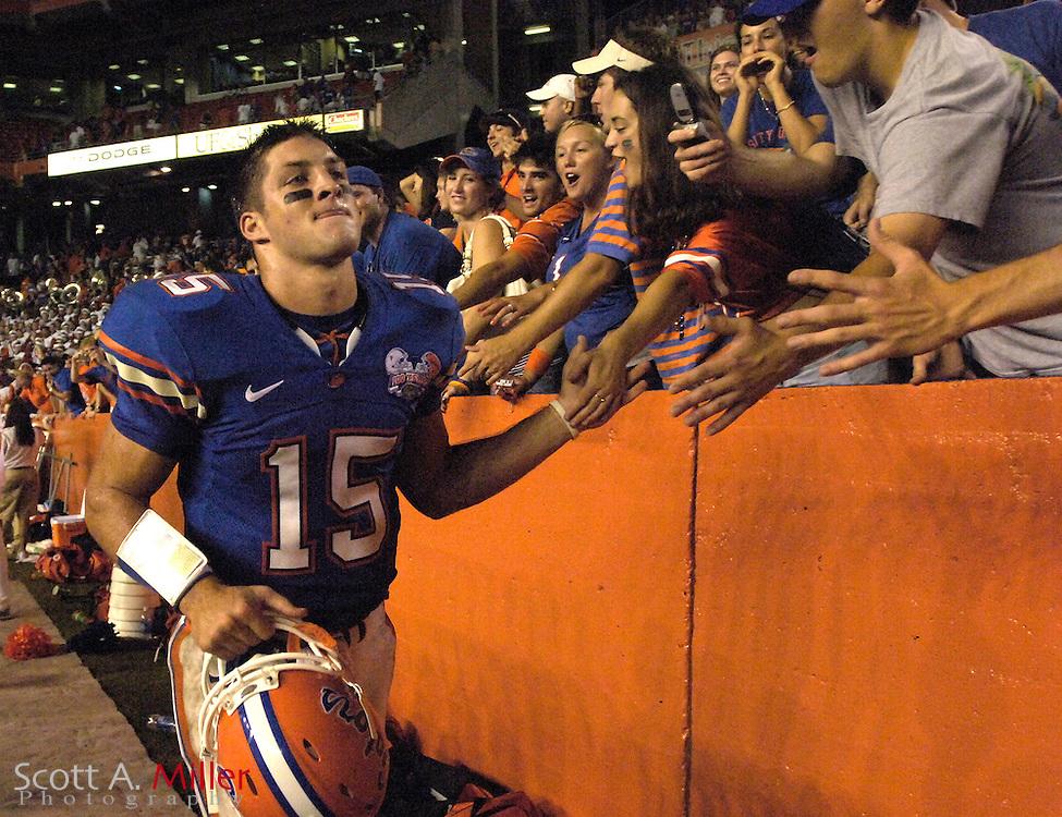 Sept. 9, 2006; Gainesville, FL, USA; Florida Gators quarterback Tim Tebow celebrates the Gators 42-0 win over the Central Florida Golden Knights at Ben Hill Griffin Stadium. ...©2006 Scott A. Miller