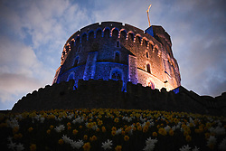 Windsor Castle is turned blue to salute local heroes during Thursday's nationwide Clap for Carers NHS initiative to applaud NHS workers fighting the coronavirus pandemic when landmarks across the UK will be lit blue.