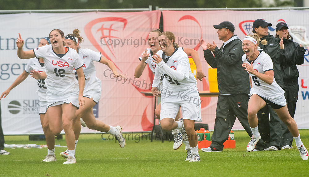 USA players rush on to the field to start celebrating having won the final at the 2017 FIL Rathbones Women's Lacrosse World Cup at Surrey Sports Park, Guilford, Surrey, UK, 15th July 2017