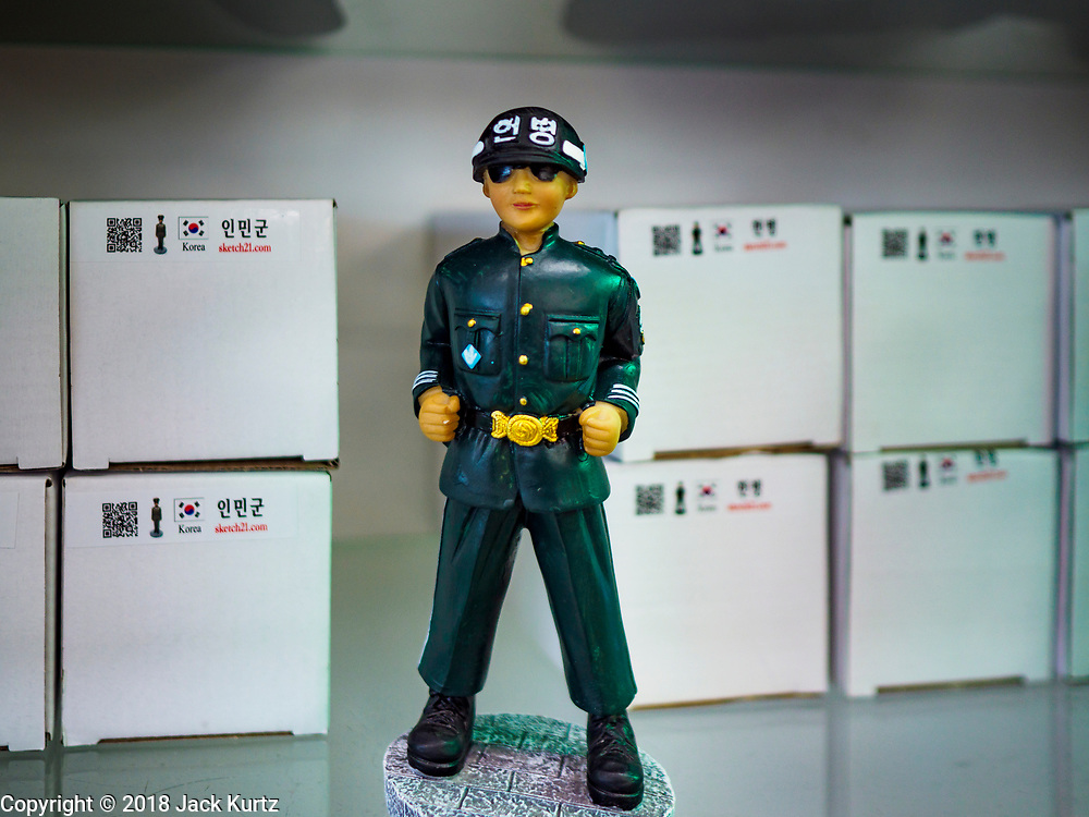 PAJU, GYEONGGI, SOUTH KOREA: A figure of a South Korean soldier for sale in a tourist shop on the edge of the DMZ in South Korea. Tourism to the Korean DeMilitarized Zone (DMZ) has increased as the pace of talks between South Korea, North Korea and the United States has increased. Some tours are sold out days in advance.      PHOTO BY JACK KURTZ