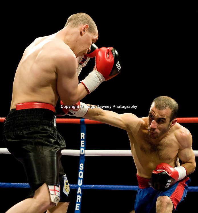 Carl Johanneson (black shorts) defeats Youseff Al Hamidi at the Harvey Hadden Leisure Centre 5th February 2010 Frank Maloney Promotions. Photo credit © Leigh Dawney