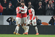 Olivier Giroud of Arsenal FC (12) celebrates scoring his second goall to go 2-0 up  during the The FA Cup fifth round match between Hull City and Arsenal at the KC Stadium, Kingston upon Hull, England on 8 March 2016. Photo by Ian Lyall.