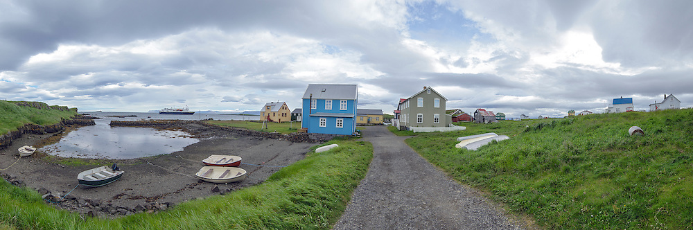 Panorama of the colorful homes on Flatey Island in Brei∂affair∂ur, Iceland.