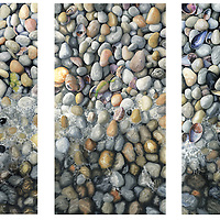 The sum is greater than the parts, as hundreds of sparkling beach pebbles in varying shades of white come together to bring you the peace of a wave washing across your toes in this triptych.<br />