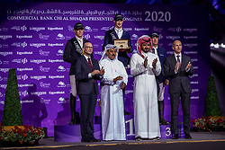 KUEHNER Max (AUT), DEUSSER Daniel (GER), BOST Roger Yves (FRA)<br /> Doha - CHI Al SHAQAB 2020<br /> Sheikh / Scheich Joaan bin Hamad bin Khalifa Al Thani gratuliert den Siegern<br /> Siegerehrung<br /> Commercial Bank CHI Al Shaqab Grand Prix presented by LONGINES<br /> Int. jumping competition over two rounds and jump-off (1.60 m)<br /> 29. Februar 2020<br /> © www.sportfotos-lafrentz.de/Stefan Lafrentz