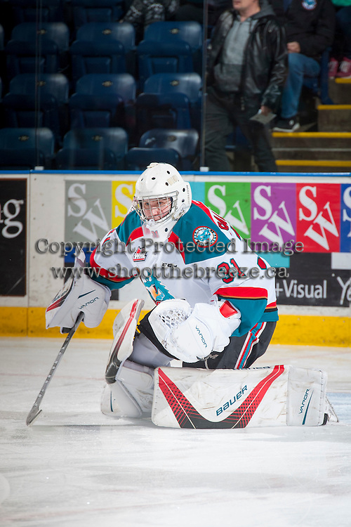 KELOWNA, CANADA - FEBRUARY 22: Brodan Salmond #31 of the Kelowna Rockets warms up against the Edmonton Oil Kings on February 22, 2017 at Prospera Place in Kelowna, British Columbia, Canada.  (Photo by Marissa Baecker/Shoot the Breeze)  *** Local Caption ***