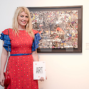 Meredith Ostrom is an American actress attend the Art On The Mind - Private view of an exhibition and auction which benefits homeless charity, Cardboard Citizens.