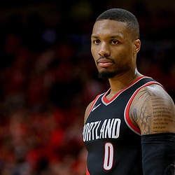 Apr 21, 2018; New Orleans, LA, USA; Portland Trail Blazers guard Damian Lillard (0) against the New Orleans Pelicans during the second half in game four of the first round of the 2018 NBA Playoffs at the Smoothie King Center. Mandatory Credit: Derick E. Hingle-USA TODAY Sports