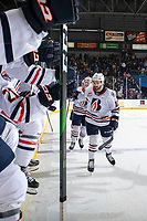 KELOWNA, BC - OCTOBER 12: Max Martin #10 of the Kamloops Blazers celebrates a goal with fist bumps at the bench against the Kelowna Rockets at Prospera Place on October 12, 2019 in Kelowna, Canada. (Photo by Marissa Baecker/Shoot the Breeze)
