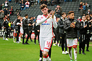 MK Dons Robbie Muirhead(16) leads the lap of appreciation by the MK Dons players after the EFL Sky Bet League 1 match between Milton Keynes Dons and Scunthorpe United at stadium:mk, Milton Keynes, England on 28 April 2018. Picture by Nigel Cole.