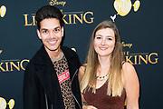 Nederlandse galapremiere van de Disney-klassieker Lion King in Pathe Tuschinski, Amsterdam.<br /> <br /> Op de foto:   Glenn Eilbracht en Tessa Dingen