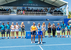 August 5, 2018 - San Jose, CA, U.S. - SAN JOSE, CA - AUGUST 05: Latisha Chan (TPE) and Kveta Peschke (CZE) get a round of applause for their win at the WTA Doubles Championship match at the Mubadala Silicon Valley Classic on the San Jose State University Stadium Court in San Jose, CA  on Sunday, August 5, 2018. (Photo by Douglas Stringer/Icon Sportswire) (Credit Image: © Douglas Stringer/Icon SMI via ZUMA Press)