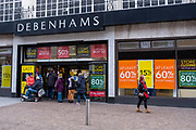 Customers going into the Folkestone Debenhams store in the final few days of the 'Everything Must Go' sale before closing down in Folkestone, Kent. United Kingdom. The company announced the closure of 19 stores across the UK after going into administration in 2019.  (photo by Andrew Aitchison / In pictures via Getty Images)