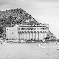 Catalina Island Casino black and white panorama photo with Avalon Bay.  Catalina Casino is one of the most popular attractions on Catalina Island. Panoramic photo ratio is 1:3.