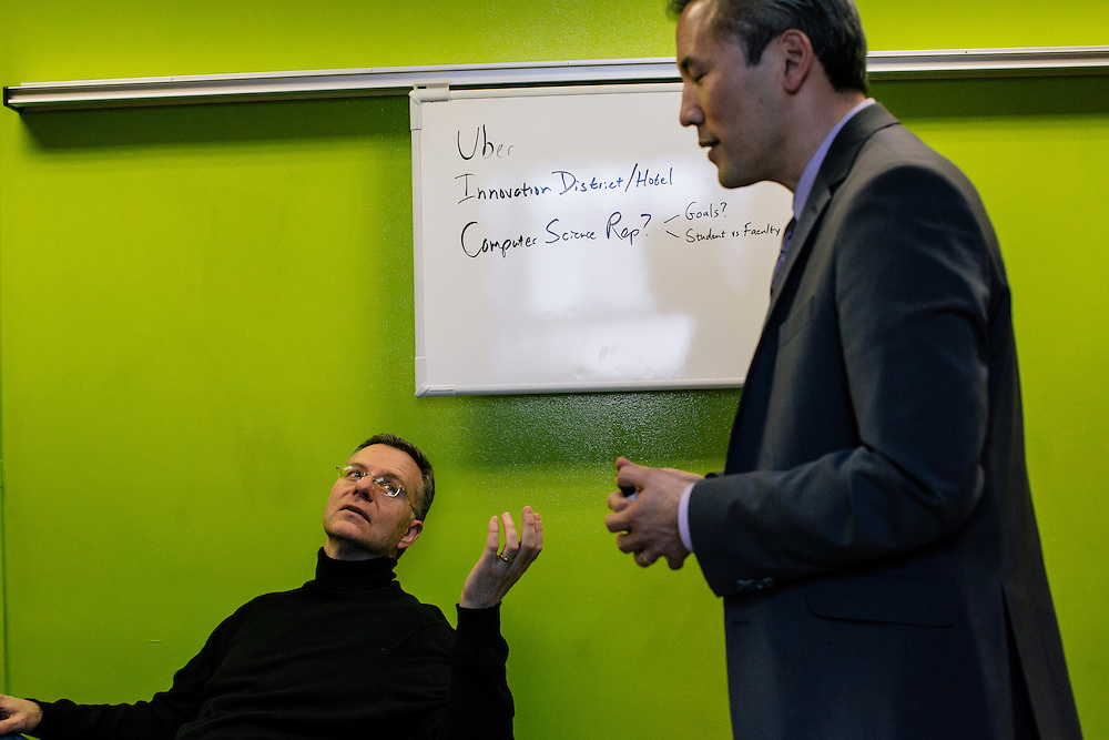 Dean Chang, Associate Vice President for Innovation and Entrepreneurship at the University of Maryland, right, meets with campus leaders in Innovation and Entrepreneurship, including Craig Dye, director of M-Tech Ventures from different departments in a room called the Garage, named after the place where Google started, during a semi-monthly meeting on April 1, 2015. UMD is part of a nationwide trend of colleges and universities  integrating entrepreneurship into the already established disciplines.