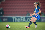 Elise Bussaglia (France) plays the ball forward during the International Friendly match between England Women and France Women at the Keepmoat Stadium, Doncaster, England on 21 October 2016. Photo by Mark P Doherty.