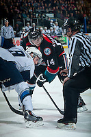 KELOWNA, CANADA - DECEMBER 3: Rourke Chartier #14 of Kelowna Rockets faces off against the Saskatoon Blades on December 3, 2014 at Prospera Place in Kelowna, British Columbia, Canada.  (Photo by Marissa Baecker/Shoot the Breeze)  *** Local Caption *** Rourke Chartier;