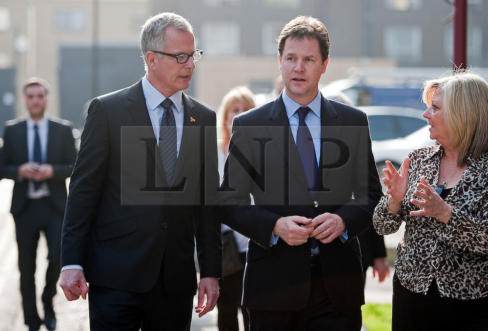 © London News Pictures. 23/03/2012. London, UK.  Liberal Democrat Leader Nick Clegg (centre) and London Liberal Democrat mayoral candidate Brian Paddick (left)  during a walk around Islington, London on March 23, 2012. The Liberal Democrats  have worked with the police in the local area to reduce crime. Photo credit: Ben Cawthra/LNP