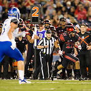 20 October 2018: San Diego State Aztecs running back Chase Jasmin (22) rushes the ball for a first down in the second quarterThe Aztecs beat the Spartans 16-13 Saturday night at SDCCU Stadium.