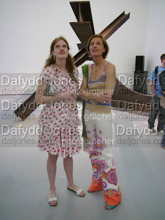 Cora Sheibani and Paula Petrobelli, Opening of Albion Gallery hosted by Michael Hue Williams and Cartier with an exhibition by Mark di Suvero,  Battersea. 13 June 2004. ONE TIME USE ONLY - DO NOT ARCHIVE  © Copyright Photograph by Dafydd Jones 66 Stockwell Park Rd. London SW9 0DA Tel 020 7733 0108 www.dafjones.com