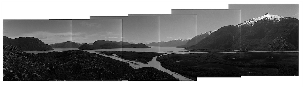 A five picture composite shows the mouth of the Baker river, as it goes into the Patagonic fjords.<br /> In Chile`s western Patagonia the Balseros (boatmen) of the Baker river are in danger of loosing it`s ways of work as the last  families that live on logging (only dead trees logging permitted by law) move their production using the river as a highway and natural landscape are threaten by the &quot;Hydroaysen Project&quot;, a $3 billion project which plans to build five dams in Patagonia rivers, two of  them in the Baker river, flooding thousands of hectares and building a 3.000 km. long transmission line which will send energy to the huge northern Chilean mining industry destroying one of the world most pristine and untouched natural areas of the planet. As South America holds one of the worlds biggest water resources of the planet first world companies such as the Italian ENEL, the Spanish Endesa, among others want to put their hands on them. By corporate lobbing they promote state corruption, divide communities and lie to citizens as new clean energy generating ways are taking the lead around the globe they promote old, destructive and obsolete energy generating ways.