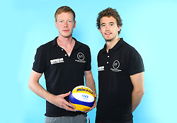 07.06.2016, Hamburg, GER, DVV Beachvolleyball, Fototermin, Nationalmannschaft, Olympische Spiele, Rio 2016, im Bild v.l. Markus Böckerman nund Lars Flüggen (GER) // v.l. Markus Boeckerman nund Lars Flueggen of Germany during photocall of German Beach Volleyball team of German Cycling Federation for the Olympic games, Rio 2016. Hamburg, Germany on 2016/06/07. EXPA Pictures © 2016, PhotoCredit: EXPA/ Eibner-Pressefoto<br /> <br /> *****ATTENTION - OUT of GER*****