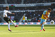 Derby County defender Fikayo Tomori (5) shoots at goal during the EFL Sky Bet Championship match between Derby County and Rotherham United at the Pride Park, Derby, England on 30 March 2019.