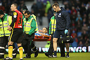 Brighton defender, full back, Liam Rosenior (23) stretchered off injured during the Sky Bet Championship match between Brighton and Hove Albion and Birmingham City at the American Express Community Stadium, Brighton and Hove, England on 28 November 2015.