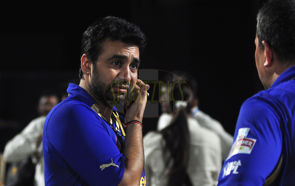 Rajasthan Royals owner Raj Kundra after match during match 30 of the the Indian Premier League ( IPL) 2012  between The Rajasthan Royals and the Royal Challengers Bangalore held at the Sawai Mansingh Stadium in Jaipur on the 23rd April 2012..Photo by Arjun Panwar/IPL/SPORTZPICS