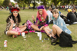 © Licensed to London News Pictures. 06/06/2015. London, UK.   Festival goers wearing fancy dress and makeup enjoy a warm sunny saturday afternoon at Field Day festival, day 1.   Photo credit : Richard Isaac/LNP