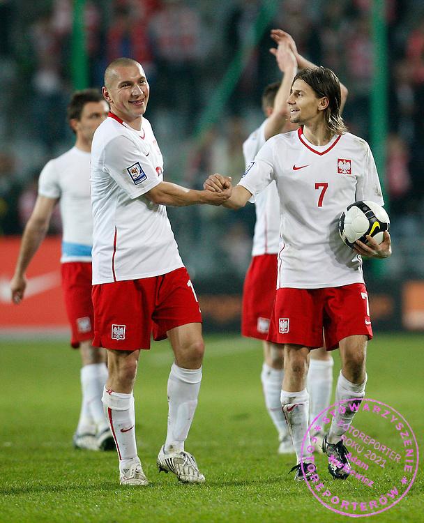FIFA World Cup European Qualifying Group 3.Poland v San Marino.Saturday 1st of April 2009.Mariusz Lewandowski /L/ i Euzebiusz Smolarek ..Photo by : Piotr Hawalej / WROFOTO