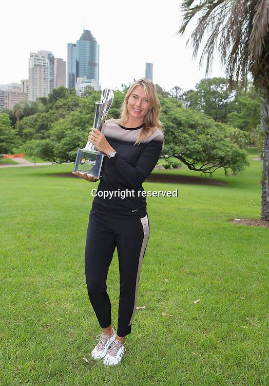 11.01.2015. Brisbane, Queensland, Australia.  Maria Sharapova with the ladies singles winners trophy at Botanic Gardens - Brisbane International 2015  WTA Tennis  Queensland Tennis Centre Brisbane  Queensland