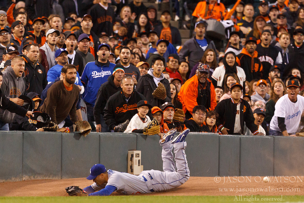 SAN FRANCISCO, CA - JULY 27: Jerry Hairston Jr. #6 of the Los Angeles Dodgers is unable to catch a foul ball hit off the bat of Nate Schierholtz #12 of the San Francisco Giants (not pictured) during the fourth inning at AT&T Park on July 27, 2012 in San Francisco, California. (Photo by Jason O. Watson/Getty Images) *** Local Caption *** Jerry Hairston Jr.