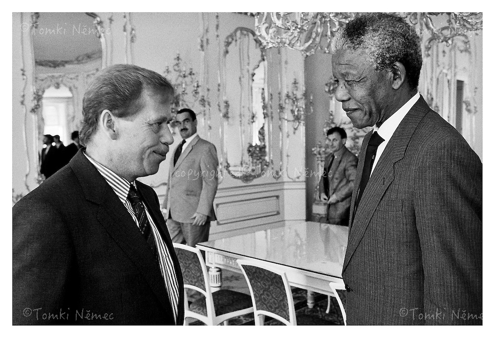 Nelson Mandela in Prague,1992,Czechoslovakia, meeting with President Vaclav Havel