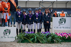 Team England, Kyle Tabitha, Gachoud Amelie, Lemieux Cloe, Jones Aimee Jane, Farman Phoebe, Whitaker Claire<br /> European Jumping Championship Children<br /> Zuidwolde 2019<br /> © Hippo Foto - Dirk Caremans<br /> Team England, Kyle Tabitha, Gachoud Amelie, Lemieux Cloe, Jones Aimee Jane, Farman Phoebe, Whitaker Claire