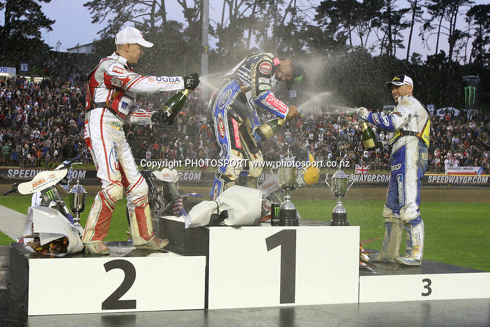 Jaroslaw Hampel (Poland) Greg Hancock (USA) and Nicki Pedersen celebrate after their wins in the 2012 FIM New Zealand Speedway Grand Prix, Western Springs, Auckland, New Zealand. Saturday 31st March 2012. Photo: Wayne Drought / photosport.co.nz