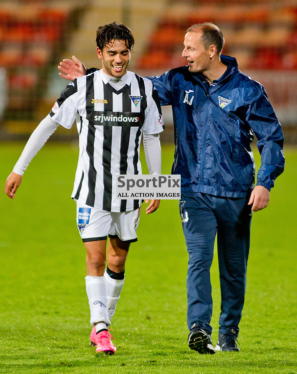 Dunfermline Athletic v Dundee Scottish League cup East End Park 25 August 2015<br /> Faissal El Bahktaoui celebrates with manager Allan Johnston<br /> CRAIG BROWN | sportPix.org.uk