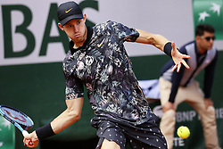 May 28, 2019 - Paris, France - Chile's Nicolas Jarry returns the ball to Argentina's Juan Martin del Potro during their men's singles first round match on day three of The Roland Garros 2019 French Open tennis tournament in Paris on May 28, 2019. (Credit Image: © Ibrahim Ezzat/NurPhoto via ZUMA Press)