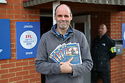 AFC Wimbledon fan with a Historical Don handout during the EFL Sky Bet League 1 match between AFC Wimbledon and Doncaster Rovers at the Cherry Red Records Stadium, Kingston, England on 14 December 2019.