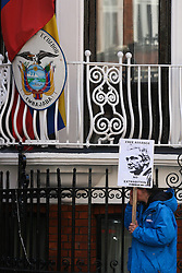 © Licensed to London News Pictures. 20/06/2012. London,Britain..Supporters of Julian Assange stand outside the Ecuador embassy where Wikileaks founder has sought political asylum. WikiLeaks founder Julian Assange has requested asylum in Ecuador, the South American country's Foreign Minister Ricardo Patino confirmed adding that 'Ecuador is assessing and evaluating this request,'.  Photo credit : Thomas Campean/LNP..