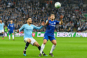 David Silva (21) of Manchester City battles for possession with Pedro (11) of Chelsea during the Carabao Cup Final match between Chelsea and Manchester City at Wembley Stadium, London, England on 24 February 2019.
