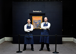 © Licensed to London News Pictures. 12/04/2012. London, UK .Photo call for Edvard Munch's The Scream which is offered to sale by Soethby's Auction House. The painting is on view in London for the first time ever and is one of four versions of the composition and the only version still in private hands. The painting is owned by Norwegian businessman Petter Olson, whose father Thomas was a friend and neighbour of Munch. 12 April 2012. Photo credit : Stephen Simpson/LNP