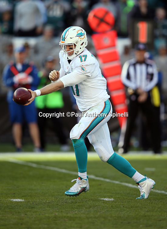 Miami Dolphins quarterback Ryan Tannehill (17) hands off the ball on a running play during the 2015 week 10 regular season NFL football game against the Philadelphia Eagles on Sunday, Nov. 15, 2015 in Philadelphia. The Dolphins won the game 20-19. (©Paul Anthony Spinelli)