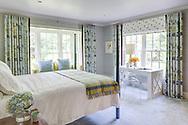Stamford home, master bedroom. Interior design by Jeffrey Kilmer Design.