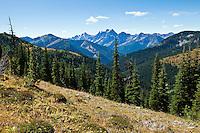 Azurite Peak adn Mt. Ballard in the north Cascades of Washington State, USA. Viewed from the Pacific Crest Trail.