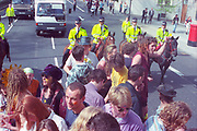 Ravers protesting on London street against the first Criminal Justice March,Park Lane, London, UK, 1st of May 1994.