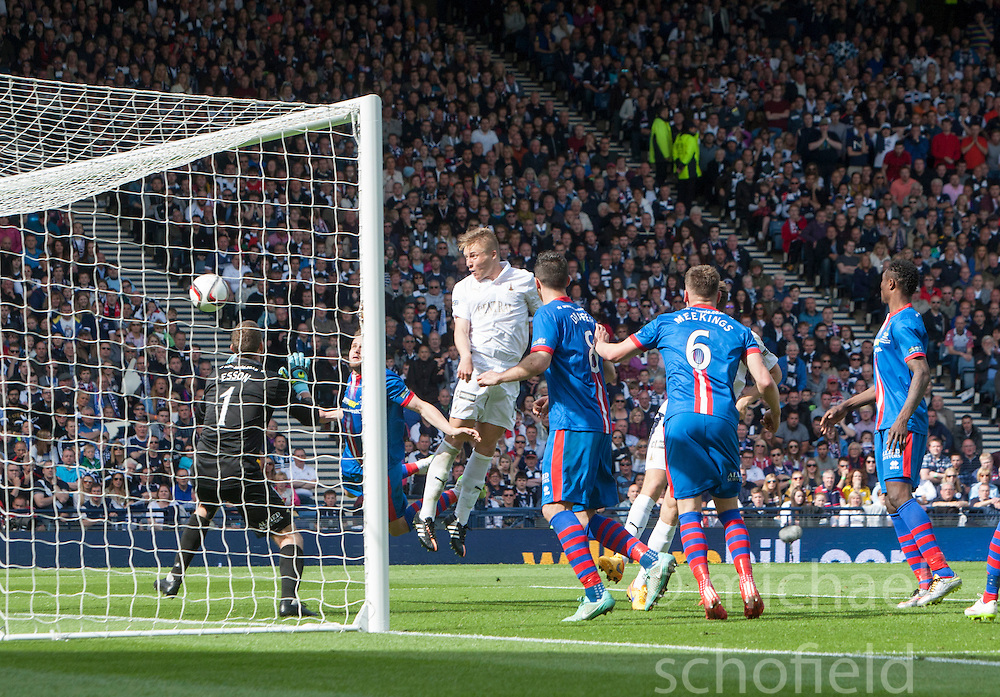 Falkirk's Peter Grant scoring their goal. Falkirk 1 v 2 Inverness CT, Scottish Cup final at Hampden.