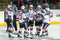KELOWNA, CANADA -FEBRUARY 1: Marek Tvrdon #17, Justin Kirkland #23, Myles Bell #29, Tyson Baillie #24 and Kris Schmidli #16 of the Kelowna Rockets celebrate a goal against the Kamloops Blazers on February 1, 2014 at Prospera Place in Kelowna, British Columbia, Canada.   (Photo by Marissa Baecker/Getty Images)  *** Local Caption *** Marek Tvrdon; Justin Kirkland; Myles Bell; Tyson Baillie; Kris Schmidli;