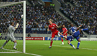 Photo: Paul Thomas.<br /> Porto v Liverpool. UEFA Champions League Group A. 18/09/2007.<br /> <br /> Dirk Kuyt of Liverpool scores.