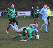 Fairfield's Steve Martin (blue) is felled during his side's last 16 Scottish Cup clash with Cleland - Dundee Sunday Amateur Football<br /> <br />  - &copy; David Young - www.davidyoungphoto.co.uk - email: davidyoungphoto@gmail.com